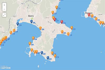 Imagen del Mapa de Accesibilidad según la guía de Playas del MAGRAMA
